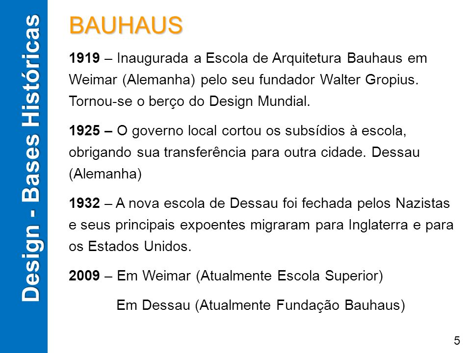 Design - Bases Históricas BAUHAUS