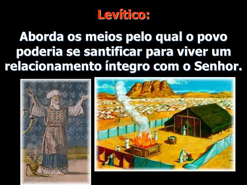 Levítico: Aborda os meios pelo qual o povo poderia se santificar para viver um relacionamento íntegro com o Senhor.
