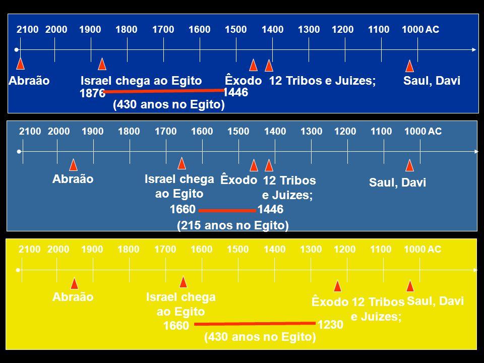 Abraão Israel chega ao Egito Êxodo 12 Tribos e Juizes; Saul, Davi 1876