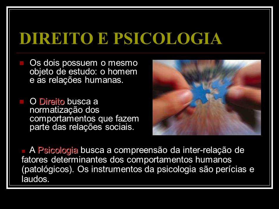 DIREITO E PSICOLOGIA Os dois possuem o mesmo objeto de estudo: o homem e as relações humanas.