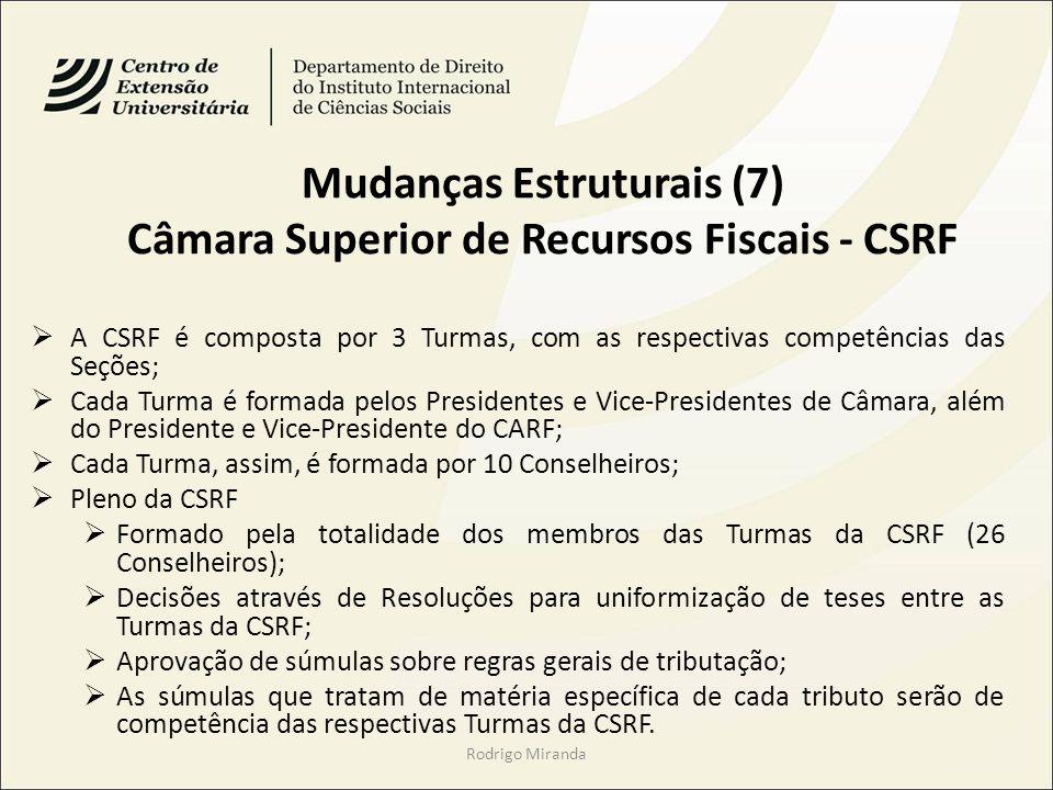 Mudanças Estruturais (7) Câmara Superior de Recursos Fiscais - CSRF