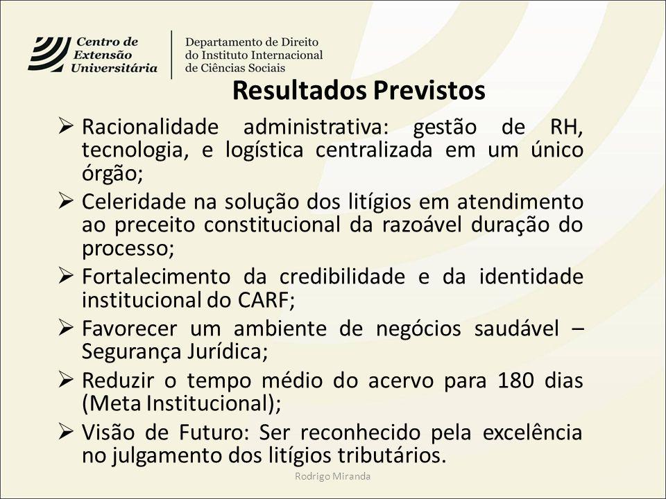 Resultados Previstos Racionalidade administrativa: gestão de RH, tecnologia, e logística centralizada em um único órgão;