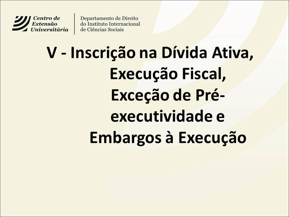 V - Inscrição na Dívida Ativa, Execução Fiscal, Exceção de Pré-executividade e Embargos à Execução