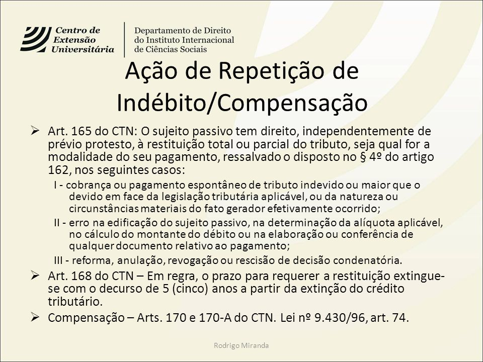 Ação de Repetição de Indébito/Compensação