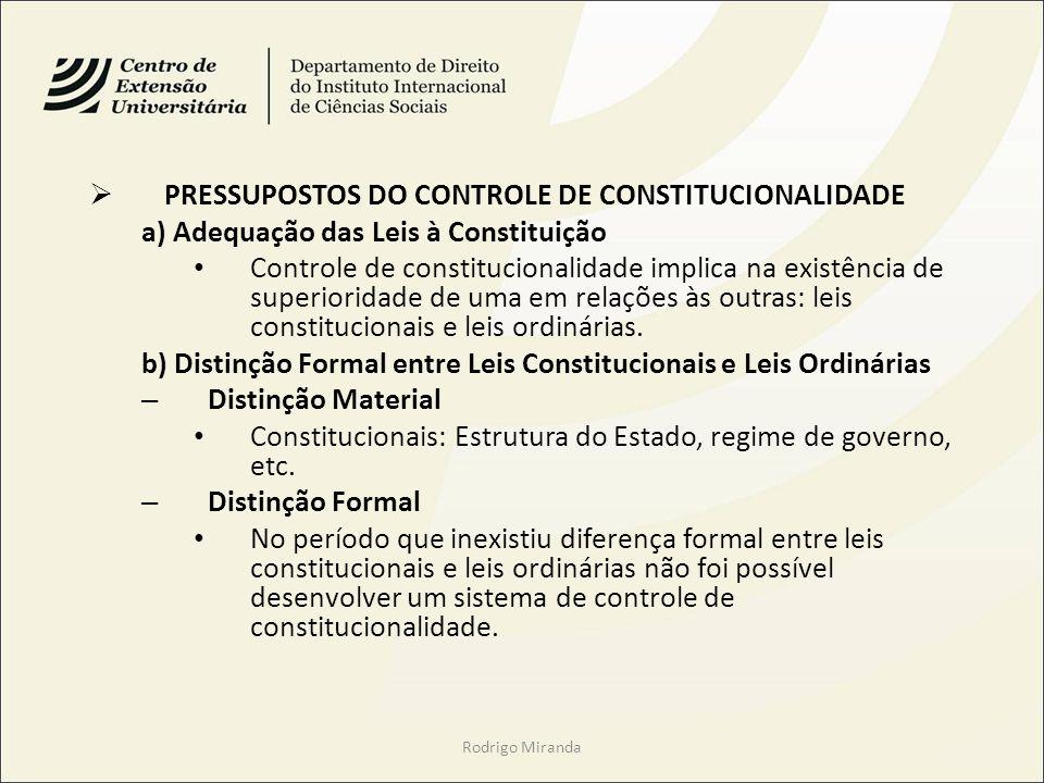 PRESSUPOSTOS DO CONTROLE DE CONSTITUCIONALIDADE