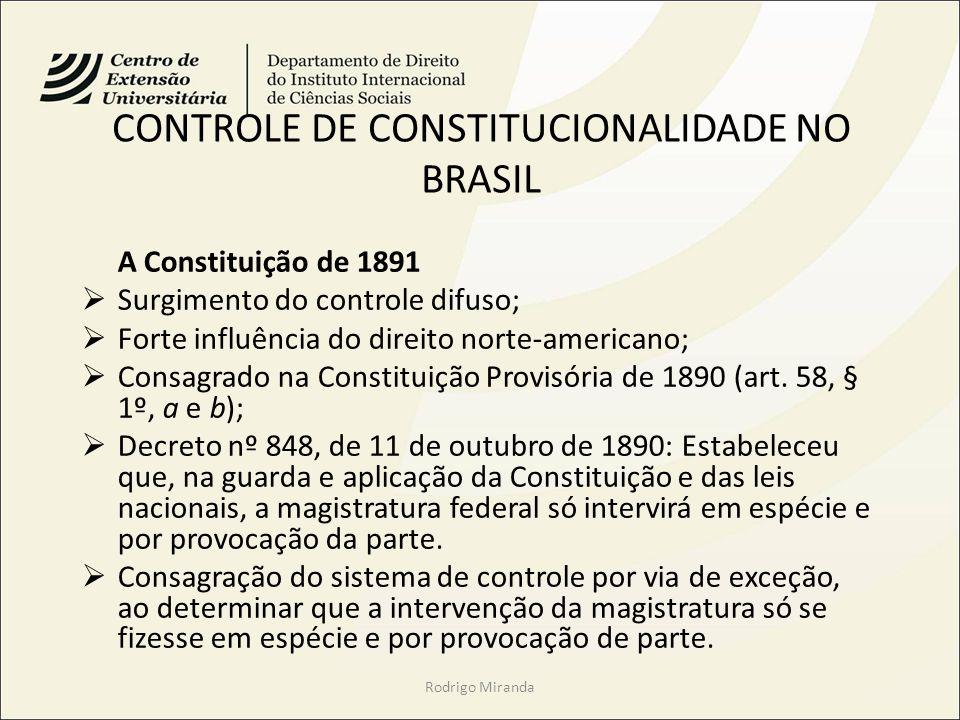 CONTROLE DE CONSTITUCIONALIDADE NO BRASIL
