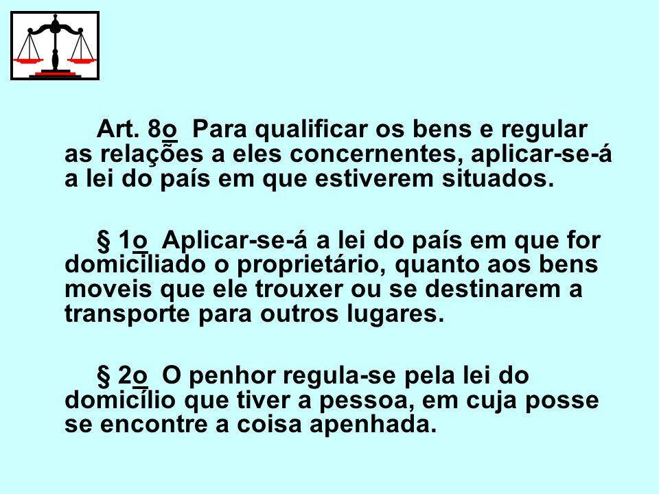 Art. 8o Para qualificar os bens e regular as relações a eles concernentes, aplicar-se-á a lei do país em que estiverem situados.