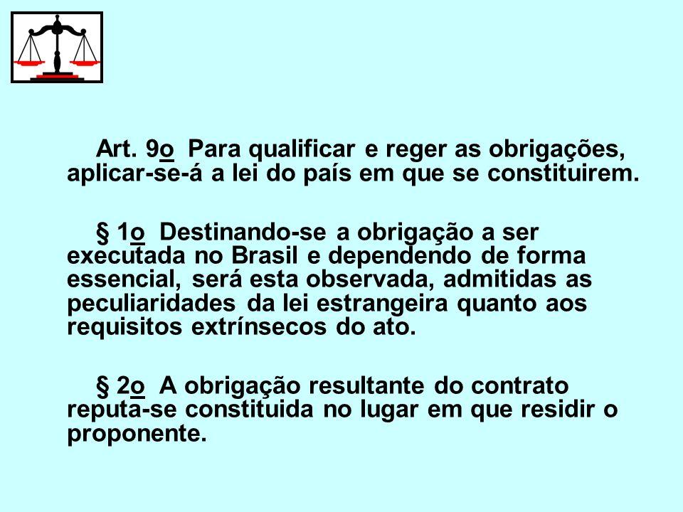 Art. 9o Para qualificar e reger as obrigações, aplicar-se-á a lei do país em que se constituirem.