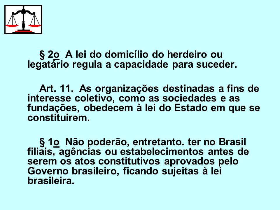 § 2o A lei do domicílio do herdeiro ou legatário regula a capacidade para suceder.
