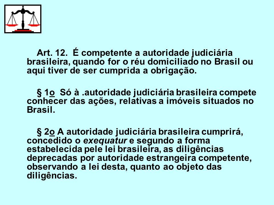 Art. 12. É competente a autoridade judiciária brasileira, quando for o réu domiciliado no Brasil ou aqui tiver de ser cumprida a obrigação.