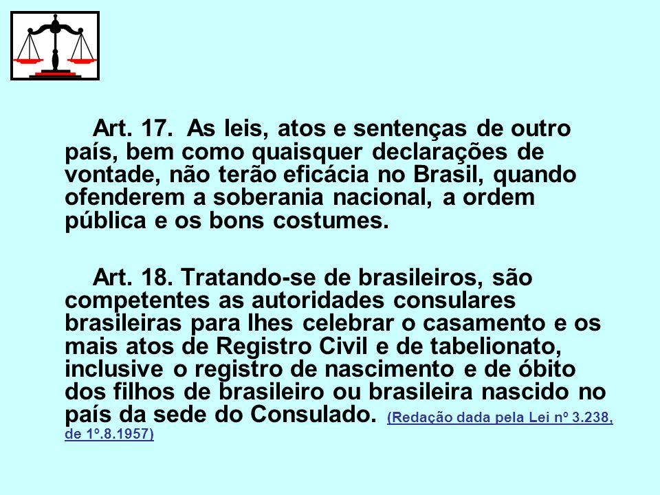 Art. 17. As leis, atos e sentenças de outro país, bem como quaisquer declarações de vontade, não terão eficácia no Brasil, quando ofenderem a soberania nacional, a ordem pública e os bons costumes.