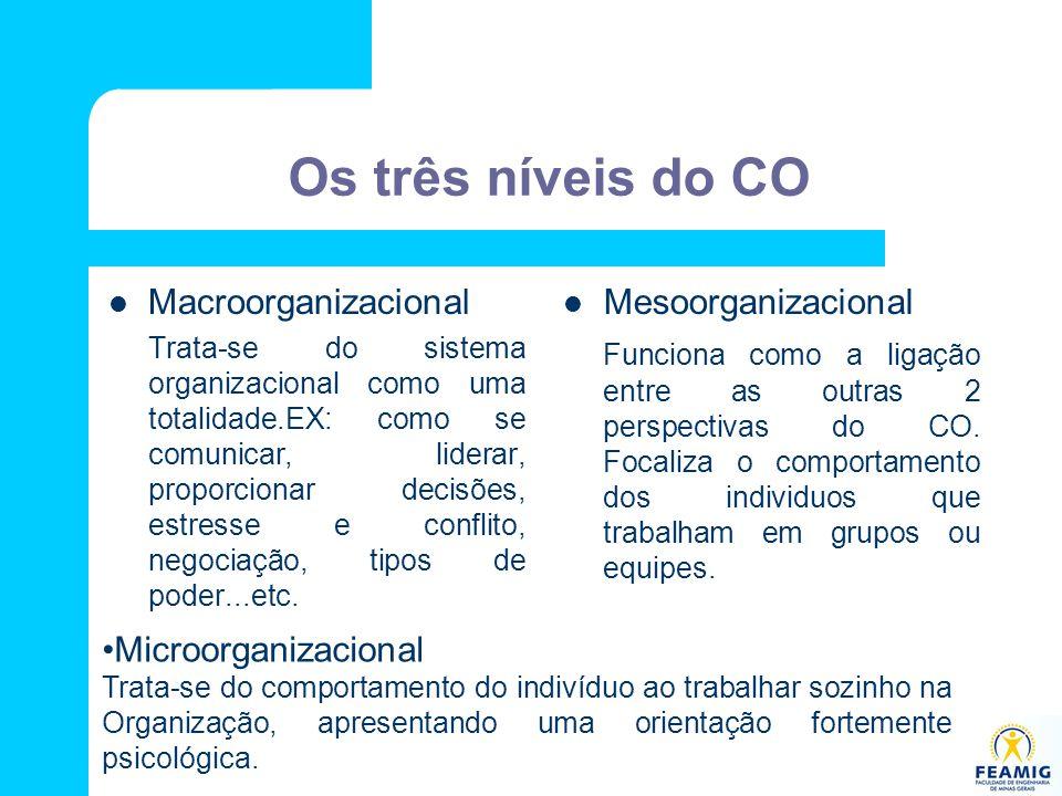 Os três níveis do CO Macroorganizacional Mesoorganizacional