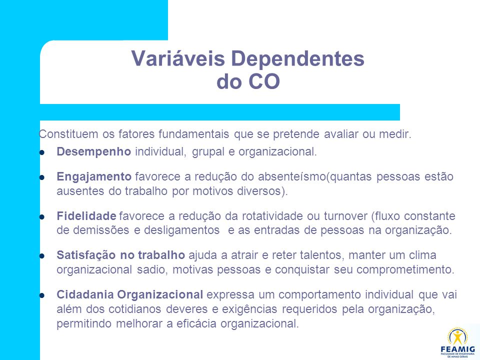 Variáveis Dependentes do CO