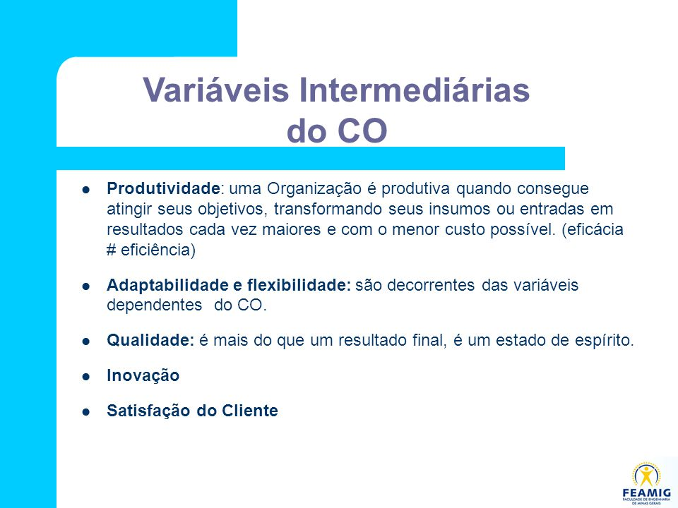 Variáveis Intermediárias do CO