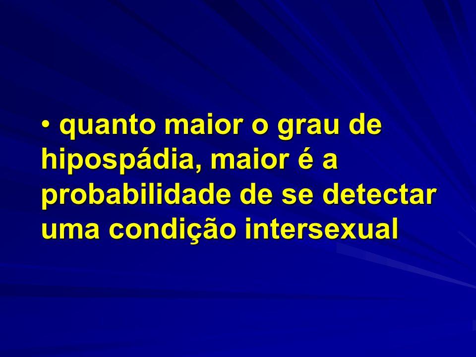 quanto maior o grau de hipospádia, maior é a probabilidade de se detectar uma condição intersexual