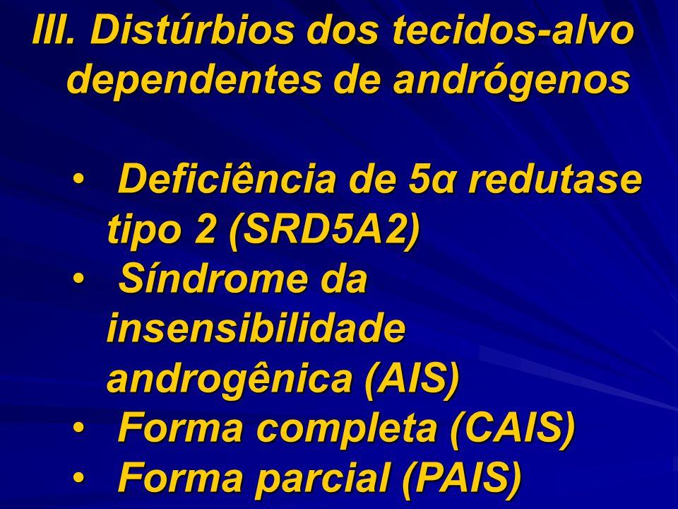 III. Distúrbios dos tecidos-alvo dependentes de andrógenos