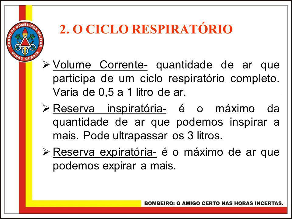 2. O CICLO RESPIRATÓRIO Volume Corrente- quantidade de ar que participa de um ciclo respiratório completo. Varia de 0,5 a 1 litro de ar.