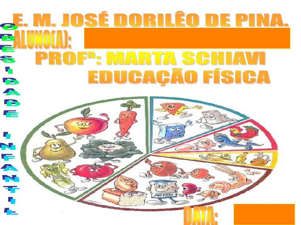 E. M. JOSÉ DORILÊO DE PINA. PROFª: MARTA SCHIAVI EDUCAÇÃO FÍSICA ALUNO(A): OBESIDADE INFANTIL DATA: