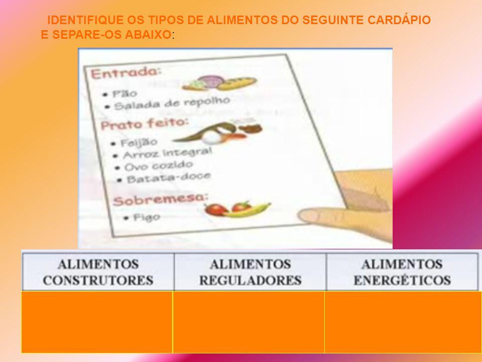 IDENTIFIQUE OS TIPOS DE ALIMENTOS DO SEGUINTE CARDÁPIO E SEPARE-OS ABAIXO: