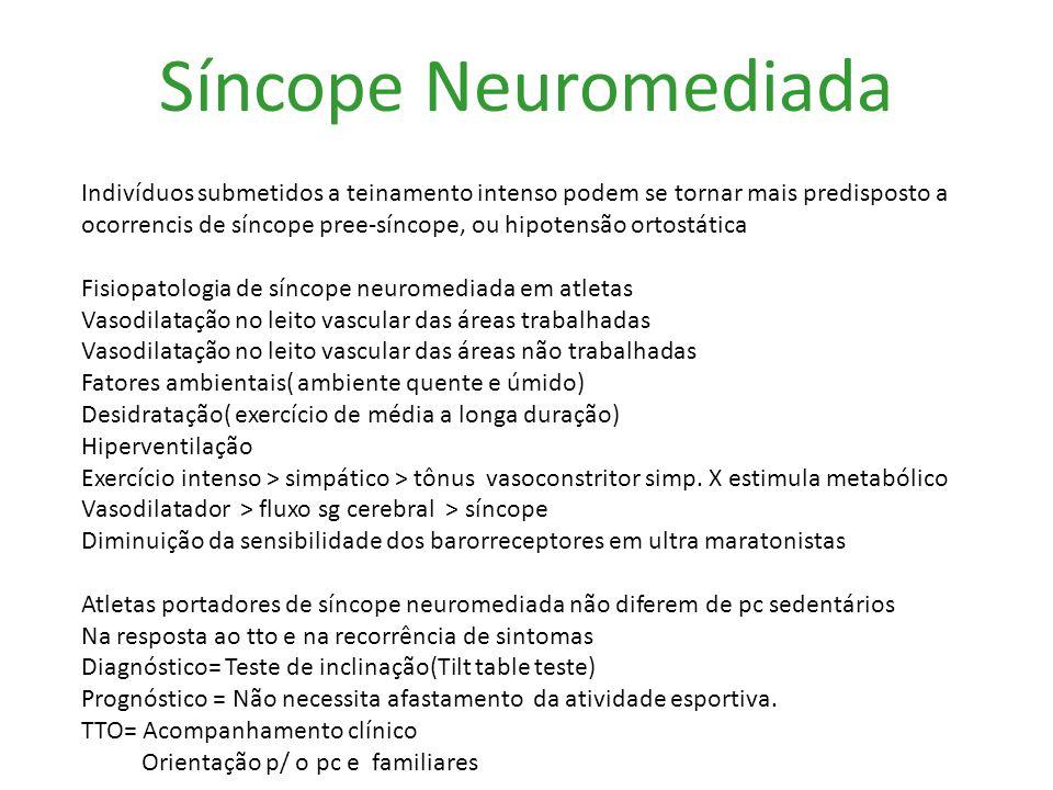 Síncope Neuromediada Indivíduos submetidos a teinamento intenso podem se tornar mais predisposto a.