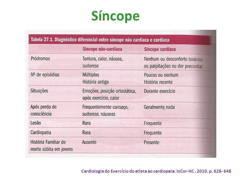 Síncope Cardiologia do Exercício do atleta ao cardiopata. InCor-HC . 2010. p. 628- 648