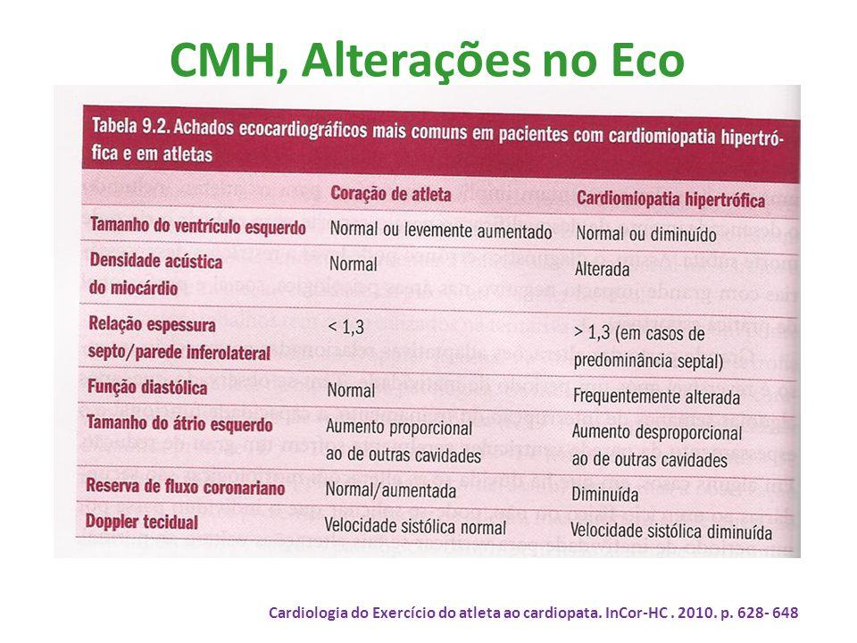 CMH, Alterações no Eco Cardiologia do Exercício do atleta ao cardiopata.