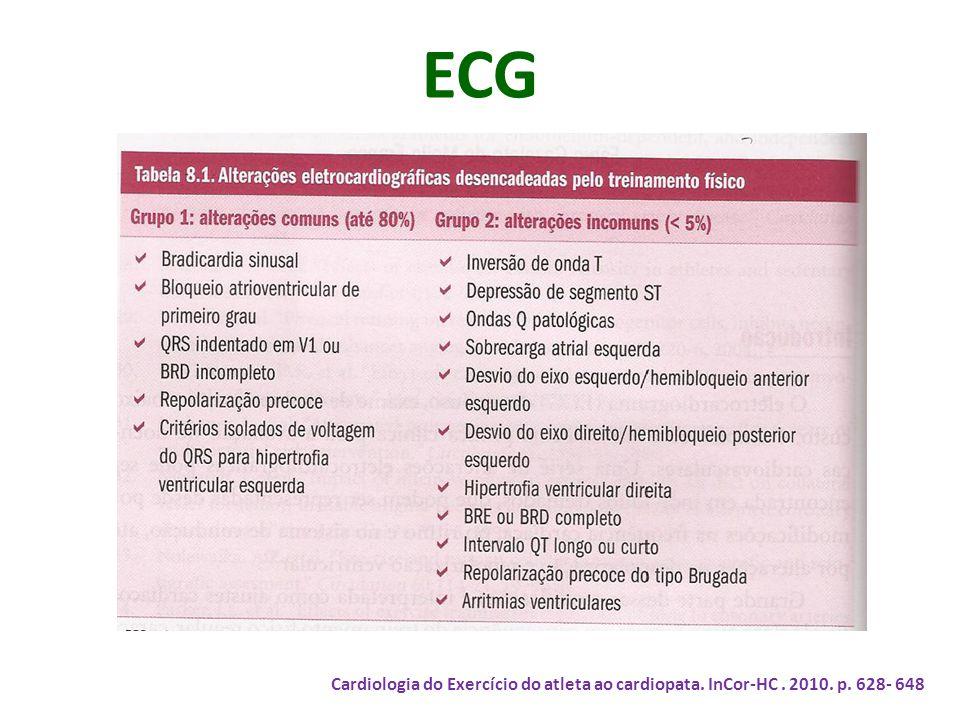 ECG Cardiologia do Exercício do atleta ao cardiopata. InCor-HC . 2010. p. 628- 648
