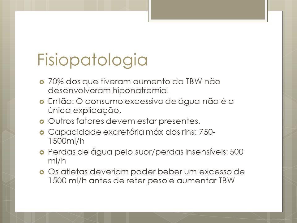 Fisiopatologia 70% dos que tiveram aumento da TBW não desenvolveram hiponatremia! Então: O consumo excessivo de água não é a única explicação.
