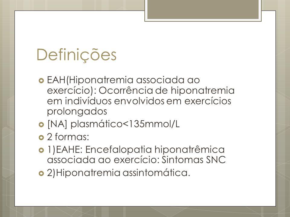 Definições EAH(Hiponatremia associada ao exercício): Ocorrência de hiponatremia em indivíduos envolvidos em exercícios prolongados.