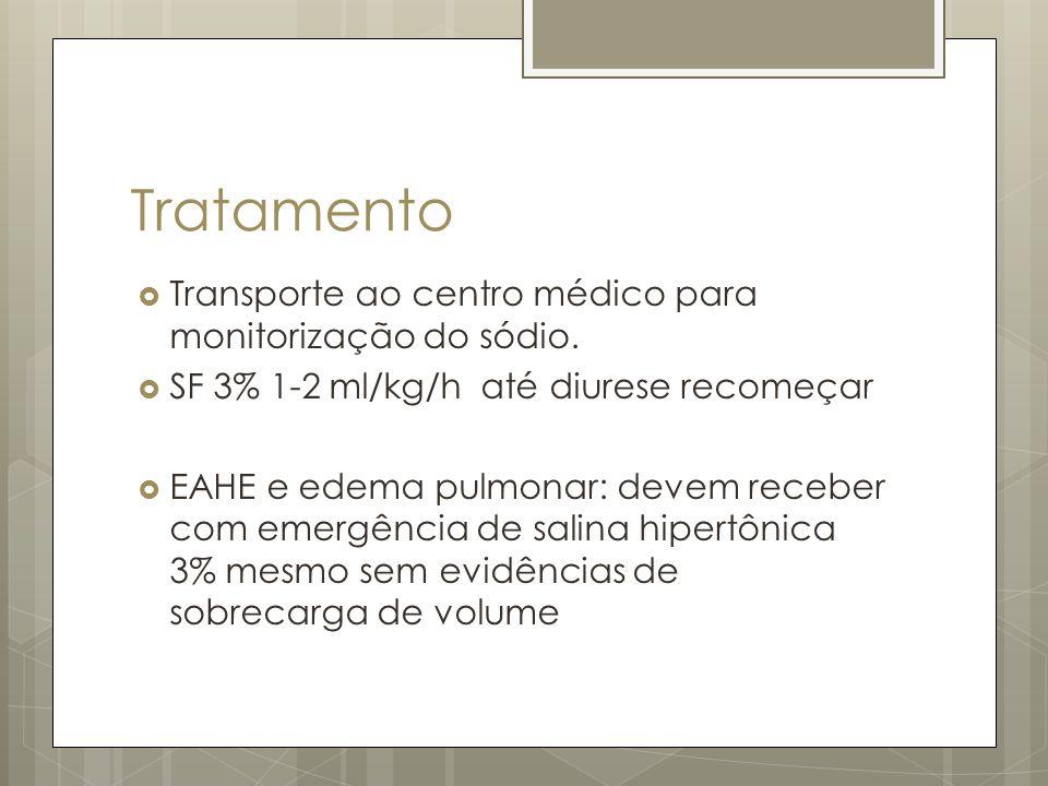 Tratamento Transporte ao centro médico para monitorização do sódio.