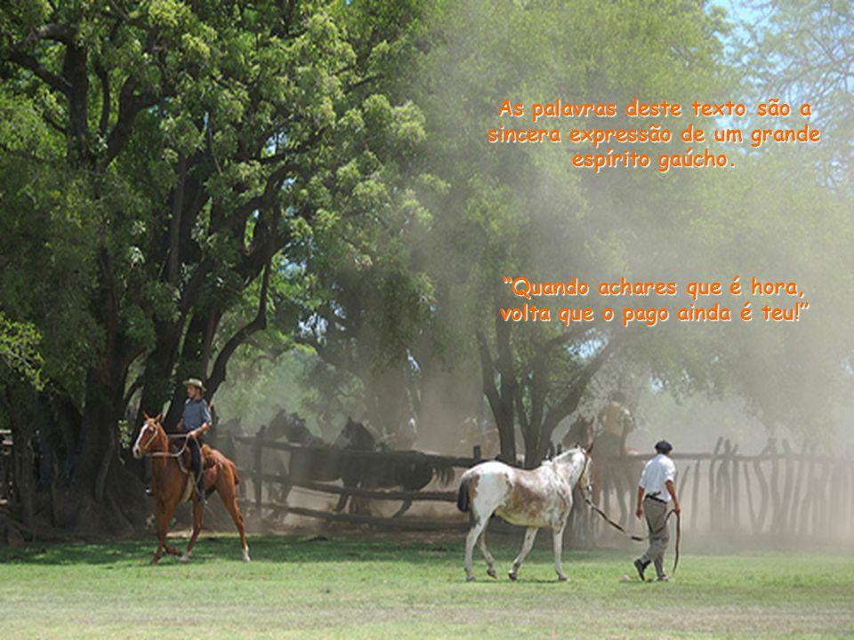As palavras deste texto são a sincera expressão de um grande espírito gaúcho.