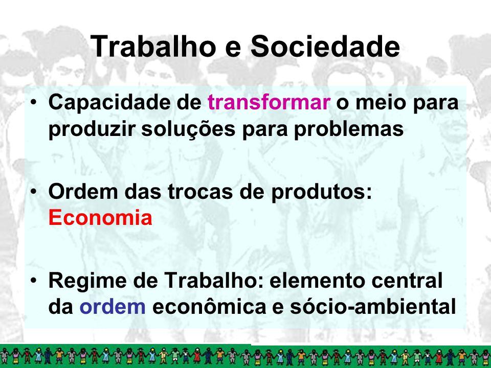 Trabalho e Sociedade Capacidade de transformar o meio para produzir soluções para problemas. Ordem das trocas de produtos: Economia.