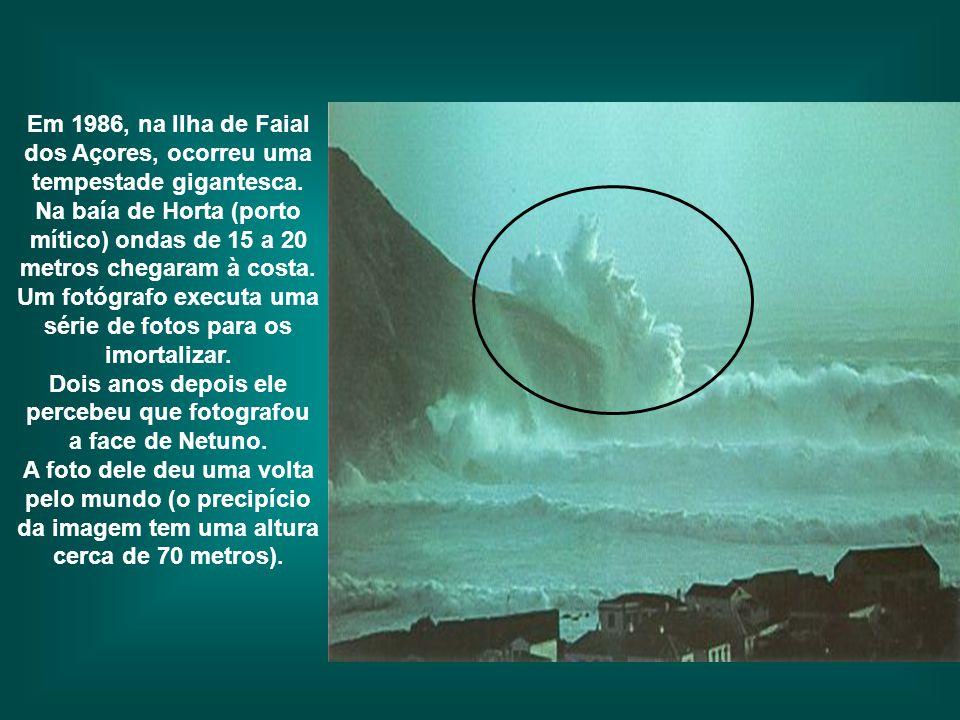 Em 1986, na Ilha de Faial dos Açores, ocorreu uma tempestade gigantesca. Na baía de Horta (porto mítico) ondas de 15 a 20 metros chegaram à costa. Um fotógrafo executa uma série de fotos para os imortalizar. Dois anos depois ele percebeu que fotografou a face de Netuno.