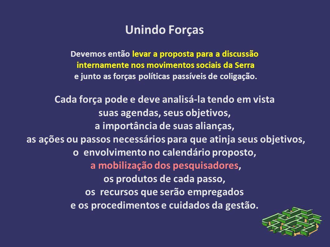 Unindo Forças Devemos então levar a proposta para a discussão internamente nos movimentos sociais da Serra e junto as forças políticas passíveis de coligação.