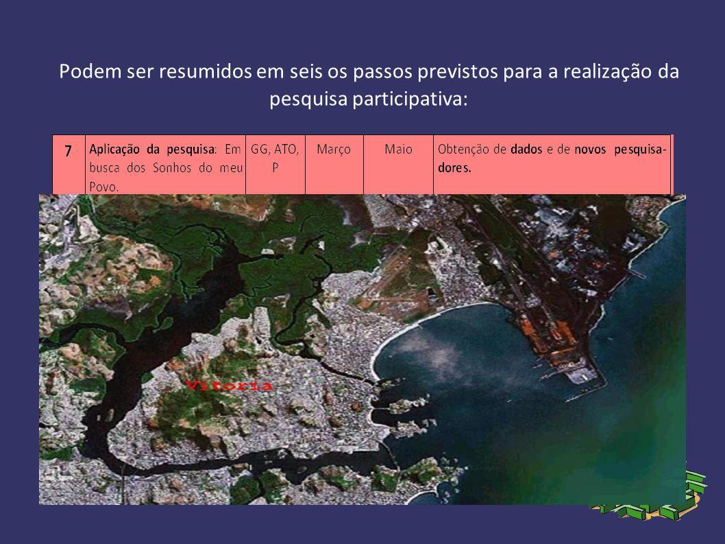 Podem ser resumidos em seis os passos previstos para a realização da pesquisa participativa: