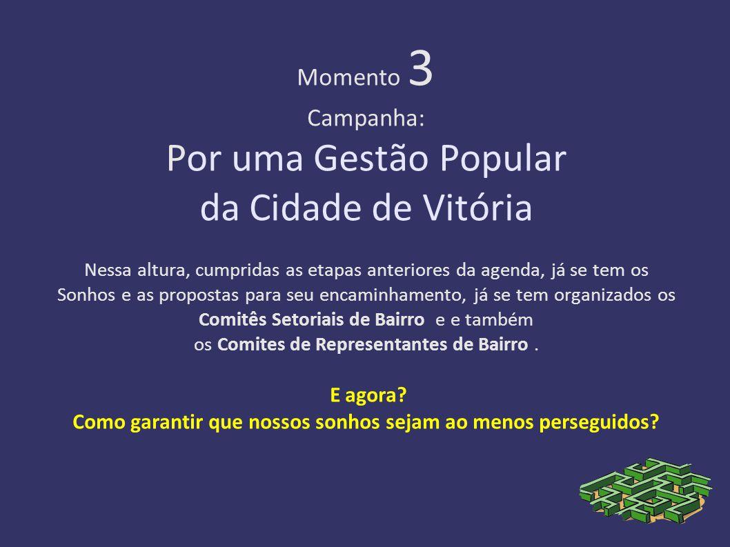 Momento 3 Campanha: Por uma Gestão Popular da Cidade de Vitória Nessa altura, cumpridas as etapas anteriores da agenda, já se tem os Sonhos e as propostas para seu encaminhamento, já se tem organizados os Comitês Setoriais de Bairro e e também os Comites de Representantes de Bairro .