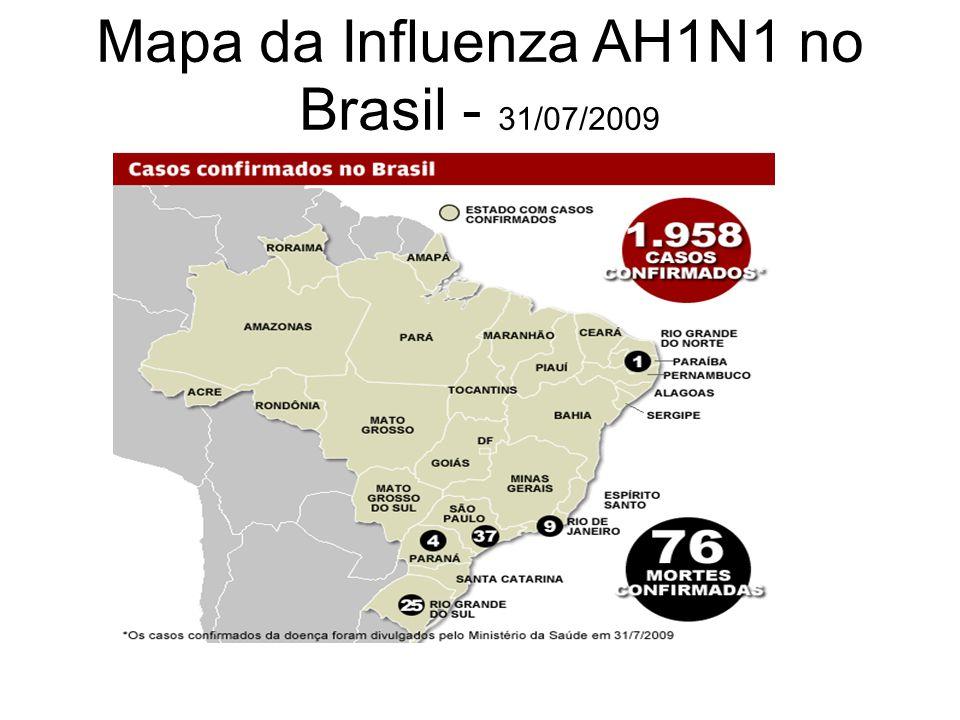 Mapa da Influenza AH1N1 no Brasil - 31/07/2009
