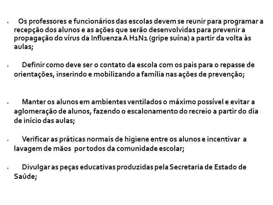 Os professores e funcionários das escolas devem se reunir para programar a recepção dos alunos e as ações que serão desenvolvidas para prevenir a propagação do vírus da Influenza A H1N1 (gripe suína) a partir da volta às aulas;