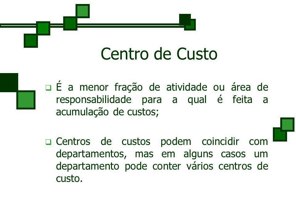 Centro de Custo É a menor fração de atividade ou área de responsabilidade para a qual é feita a acumulação de custos;