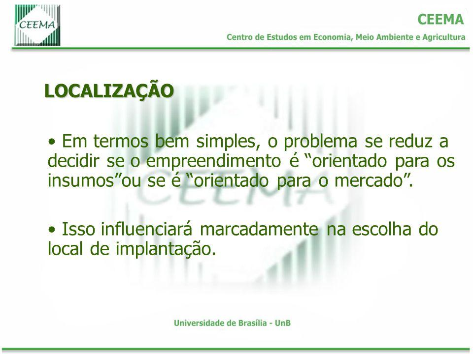 LOCALIZAÇÃO Em termos bem simples, o problema se reduz a decidir se o empreendimento é orientado para os insumos ou se é orientado para o mercado .