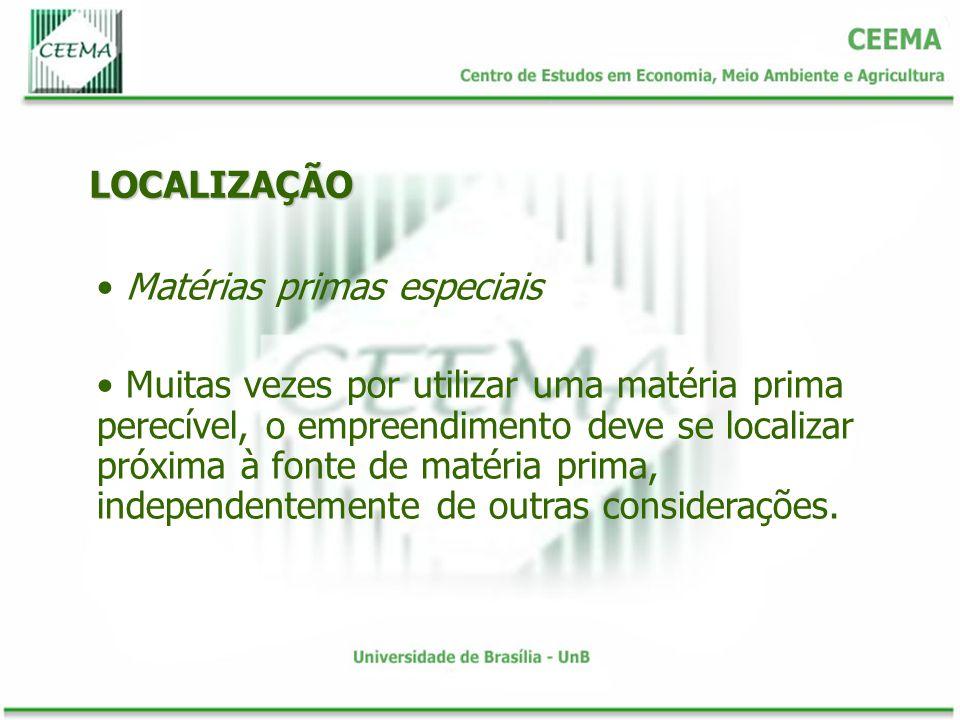 LOCALIZAÇÃO Matérias primas especiais.
