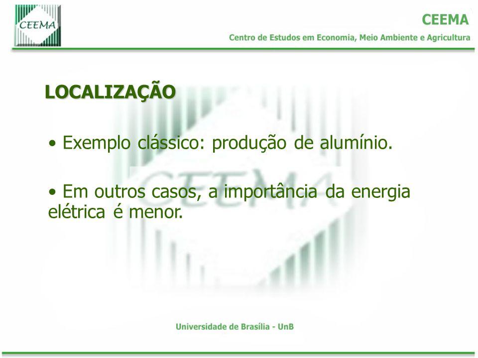 LOCALIZAÇÃO Exemplo clássico: produção de alumínio.