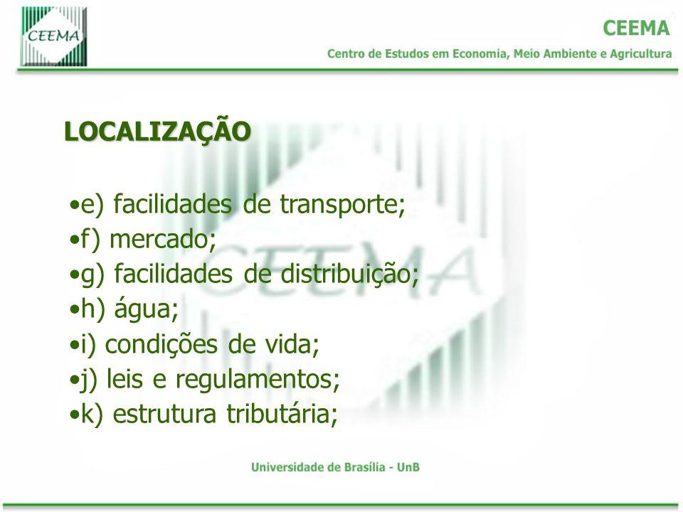LOCALIZAÇÃO e) facilidades de transporte; f) mercado; g) facilidades de distribuição; h) água; i) condições de vida;