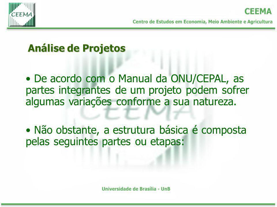 Análise de Projetos De acordo com o Manual da ONU/CEPAL, as partes integrantes de um projeto podem sofrer algumas variações conforme a sua natureza.