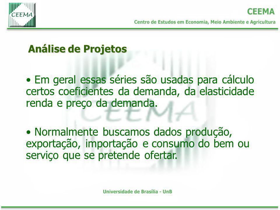 Análise de Projetos Em geral essas séries são usadas para cálculo certos coeficientes da demanda, da elasticidade renda e preço da demanda.