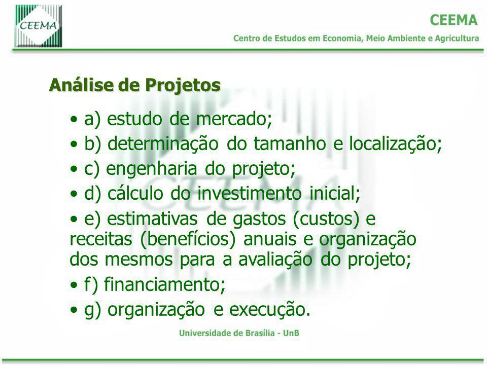 b) determinação do tamanho e localização; c) engenharia do projeto;