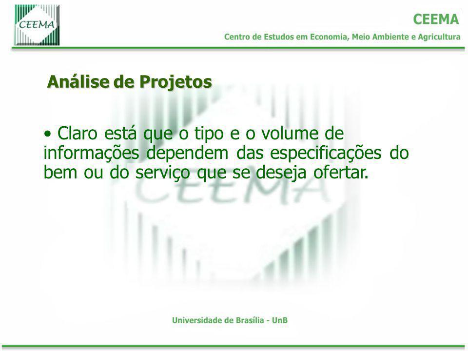 Análise de Projetos Claro está que o tipo e o volume de informações dependem das especificações do bem ou do serviço que se deseja ofertar.