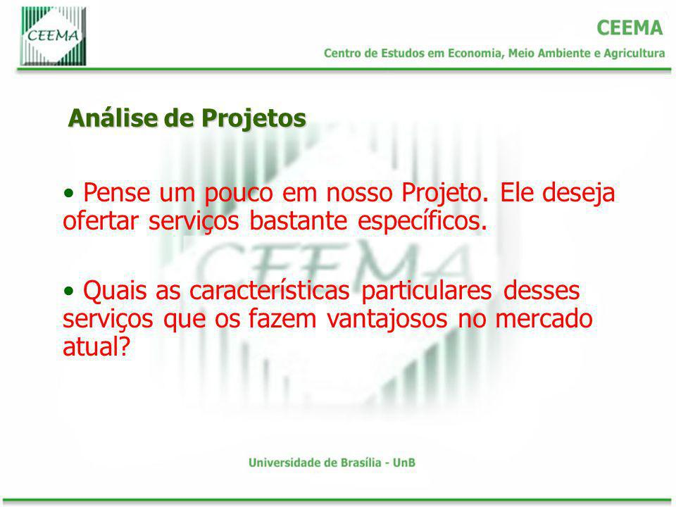 Análise de Projetos Pense um pouco em nosso Projeto. Ele deseja ofertar serviços bastante específicos.