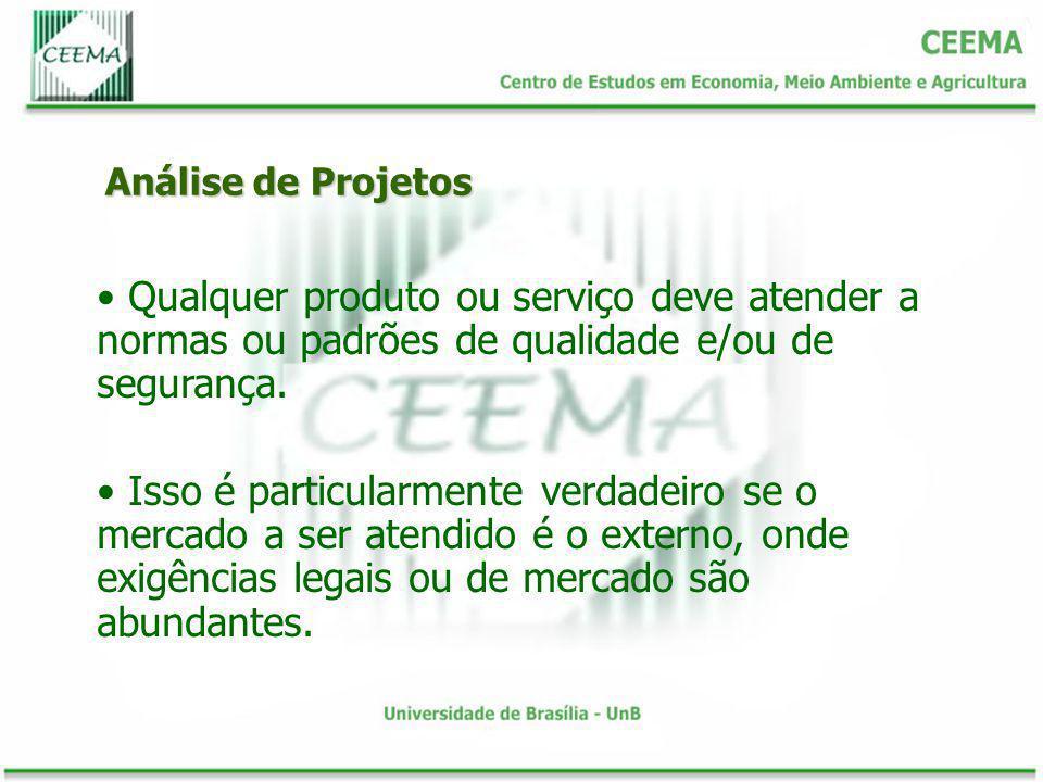 Análise de Projetos Qualquer produto ou serviço deve atender a normas ou padrões de qualidade e/ou de segurança.