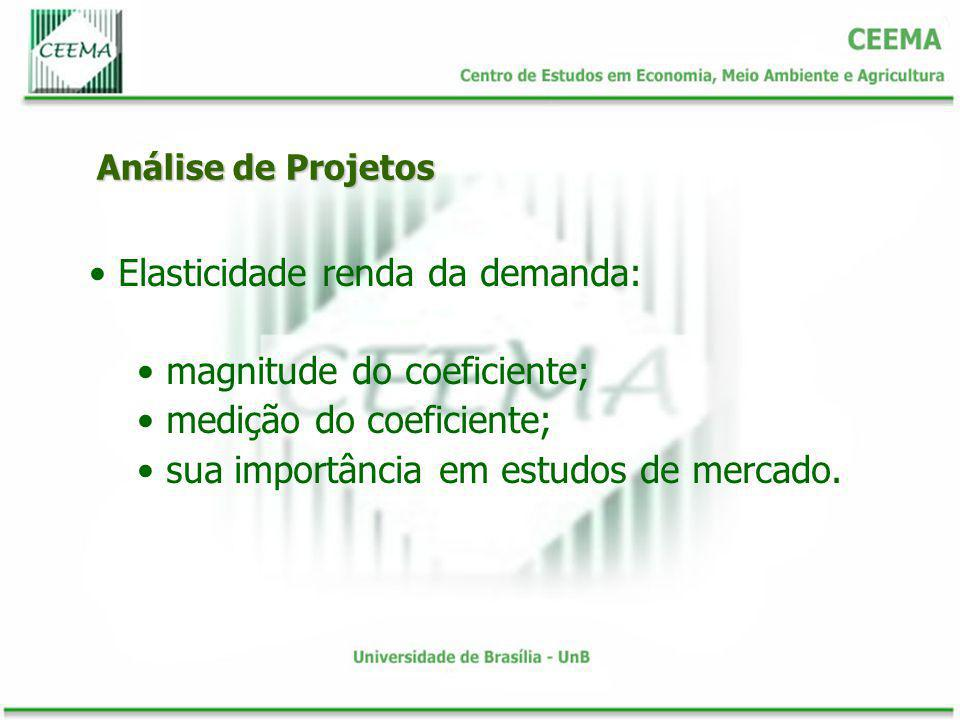 Elasticidade renda da demanda: magnitude do coeficiente;